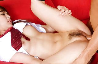 Asian schoolgirl Miku Airi in the hardcore threesome boning vid