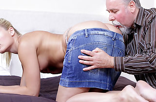 After getting her pussy gobbled it is only fair she suck on this old guy's cock!
