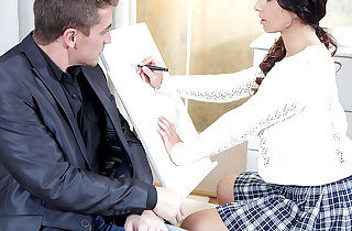 Christy gets her tricky senior teacher to play with her clitoris before she rails him